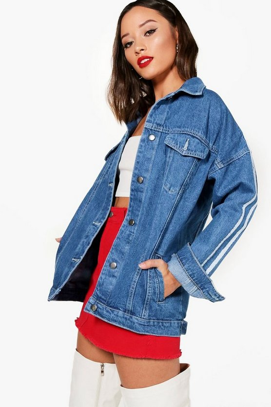 Sports Stripe Denim Jacket