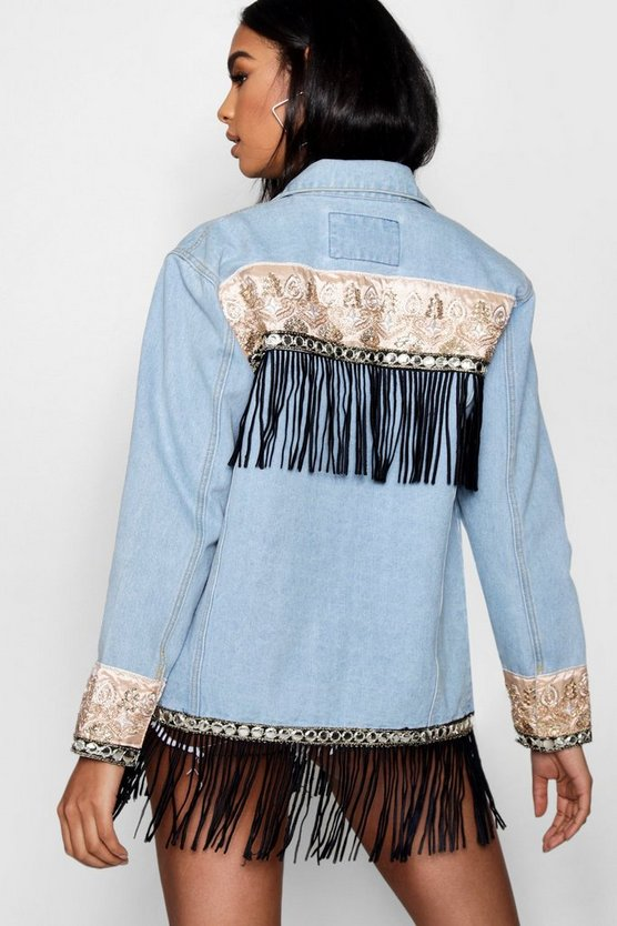 Elise Tapestry Back Denim Jacket