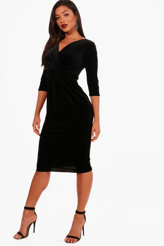 Velvet Drape Knot Front Midi Dress