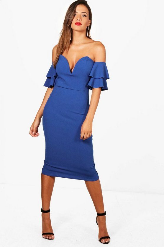 Kyra Flute Sleeve Off the Shoulder Midi Dress