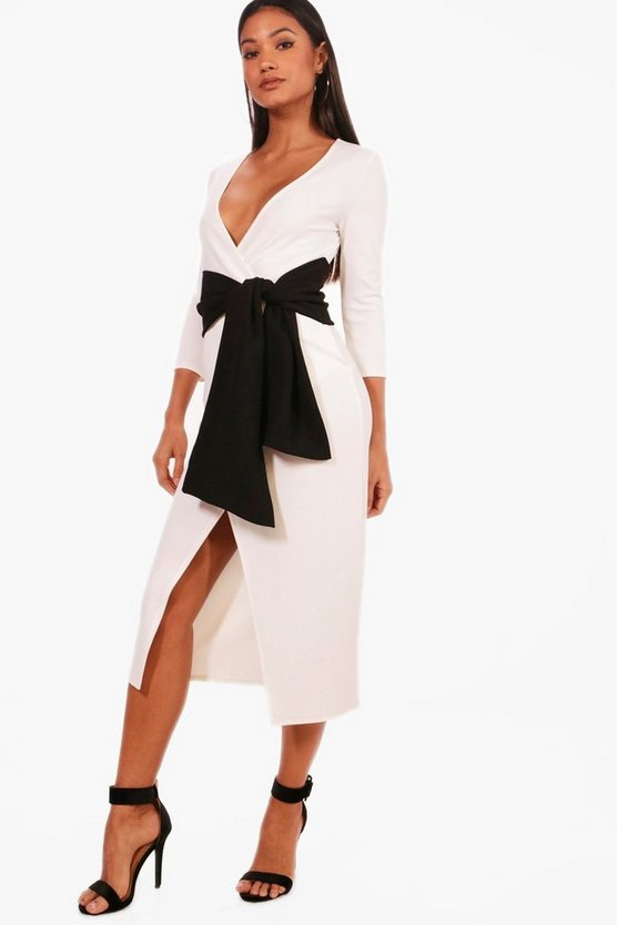 Millie Contrast Tie Belt Midi Dress