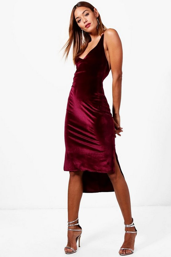 Velvet Strappy Back Midi Dress