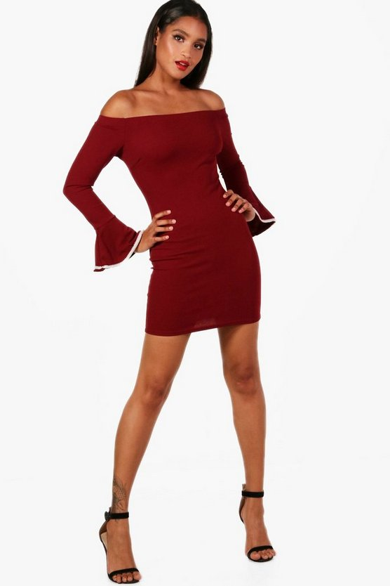 Sara Bardot Pearl Trim Sleeve Bodycon Dress