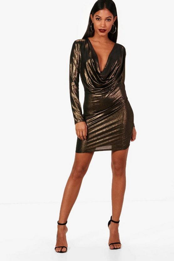 Georgia Metallic Cowl Neck Bodycon Dress