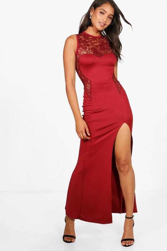 Allana Lace Contrast Panelling Maxi Dress