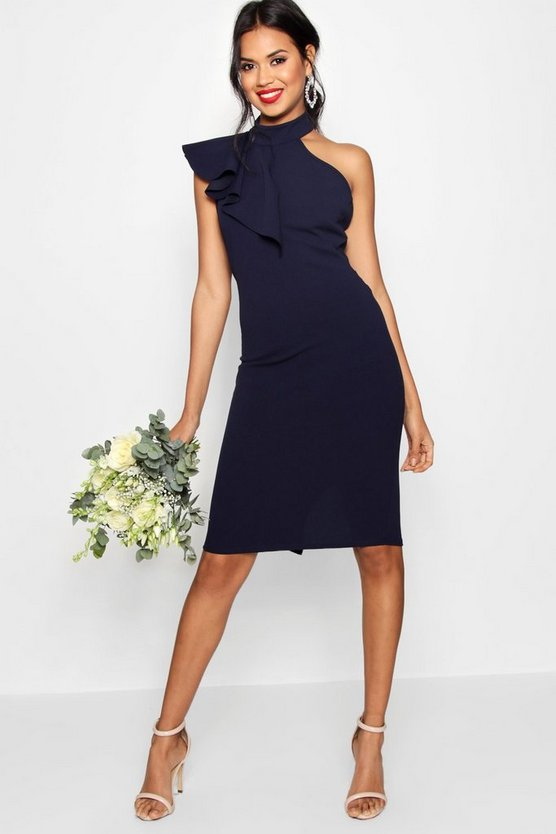 Frill Detail High Neck Midi Dress