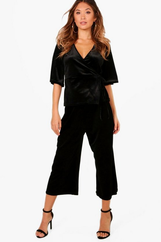 Velvet Tie Wrap Top and Culotte Set