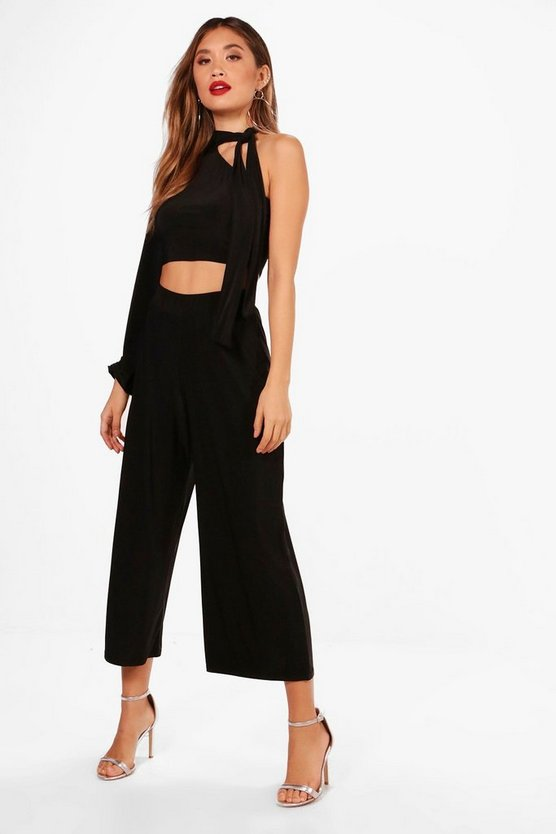 Vi One Sleeve Crop and Wide Leg Trouser Set