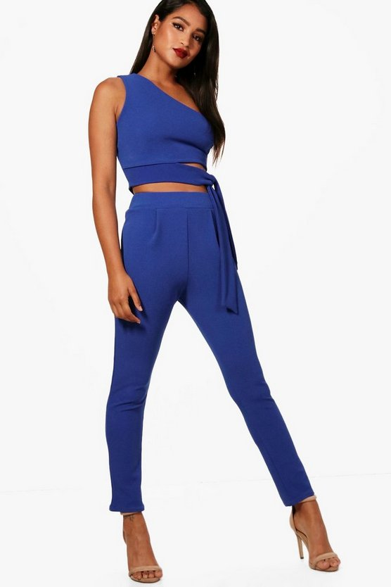 Em One Shoulder Crop and Skinny Trouser Set