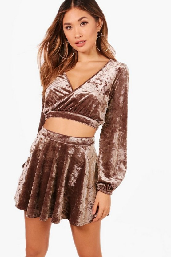 Ciara Velvet Wrap Crop and Wrap Over Skirt