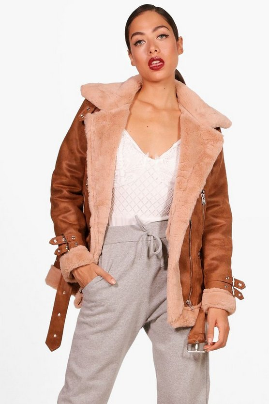 Eleanor Suedette Aviator Jacket