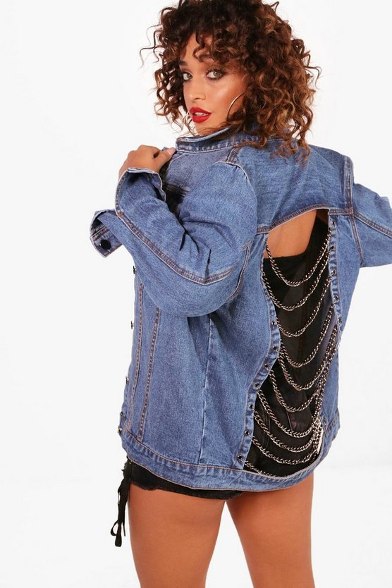 Chain Detail Oversize Denim Jacket