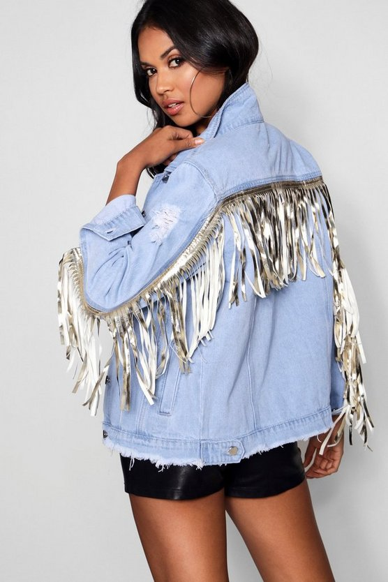 Tassel Back Oversize Denim Jacket