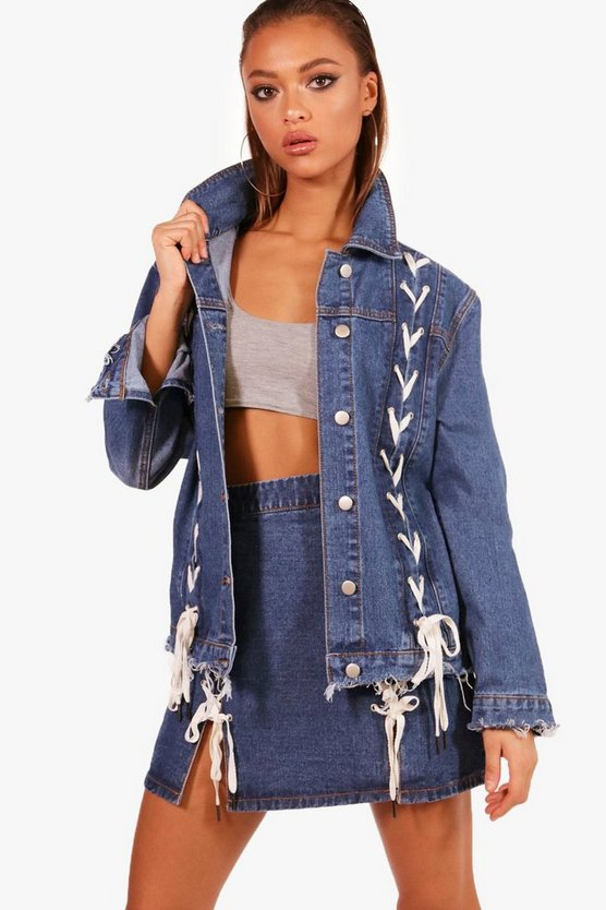 Lynne Lace-Up Detail Oversize Denim Jacket