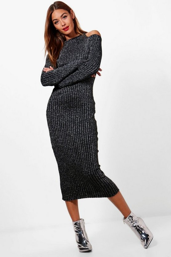 Jasmine Metallic Knitted Cold Shoulder Dress