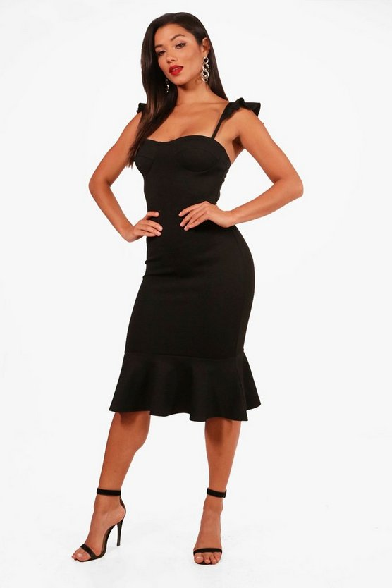 Eliza Frill Hem Strappy Midi Dress