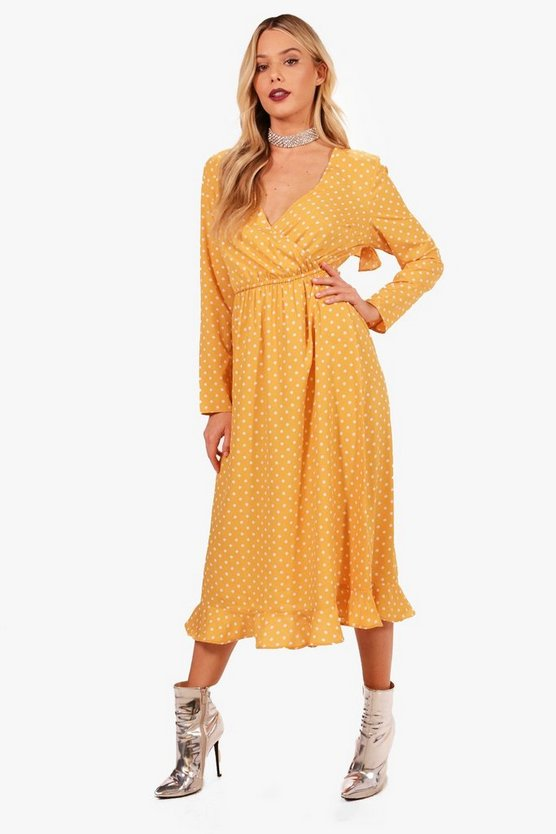 Rye Spot Wrap Front Ruffle Midi Tea Dress