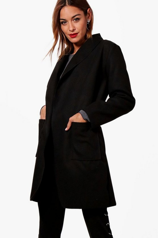 Wrap Shawl Collar Boyfriend Coat