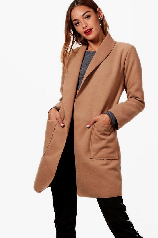 Megan Wrap Shawl Collar Boyfriend Coat