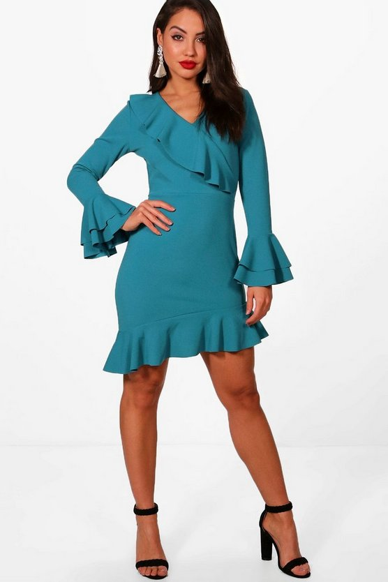 Ruffle Flared Sleeve Asymmetric Tea Dress