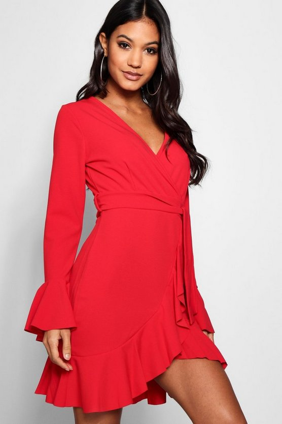 Frill Sleeve Tie Waist Ruffle Hem Tea Dress