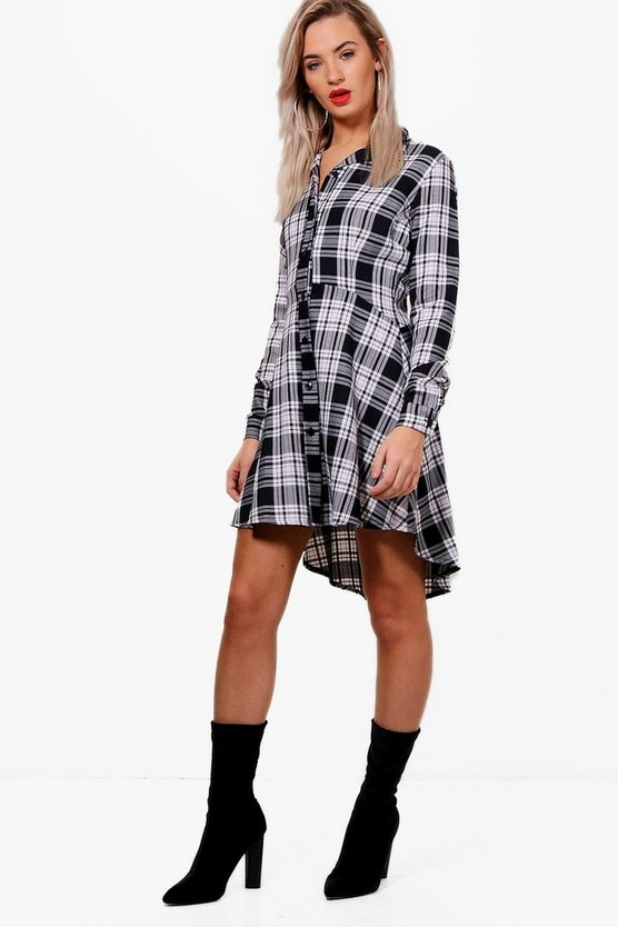 Bella Woven Check Fit & Flare Shirt Dress