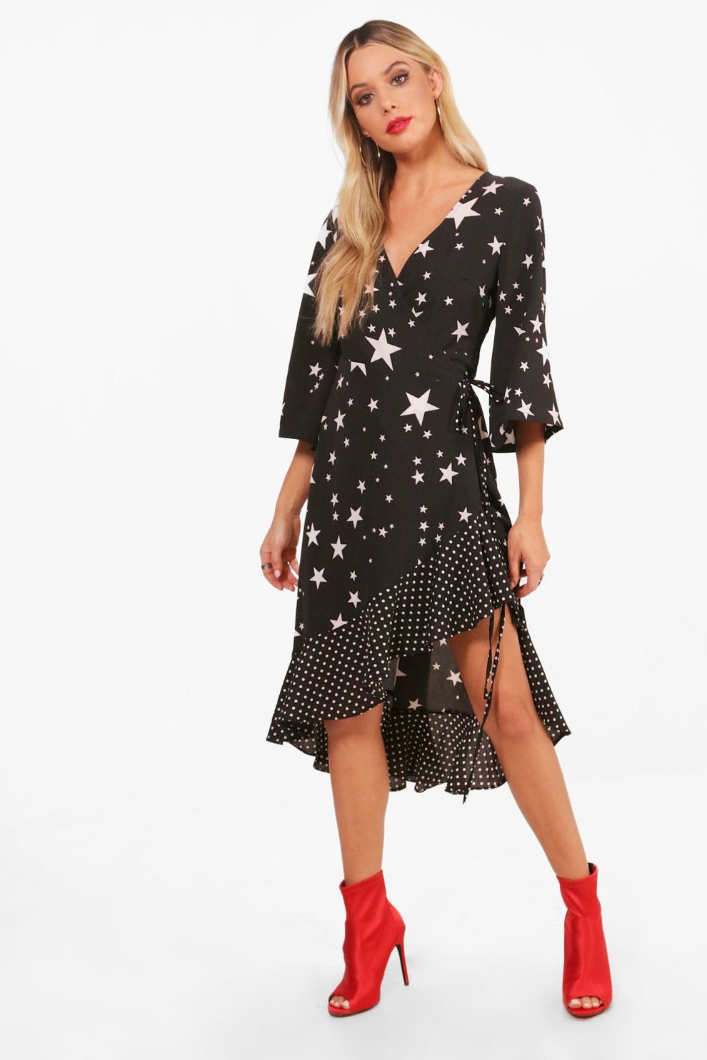 Boohoo Star Print Woven Wrap Front Tea Dress Huge Surprise Sale Online Free Shipping Cheap Online Quality From China Cheap KPODfc1Bmw