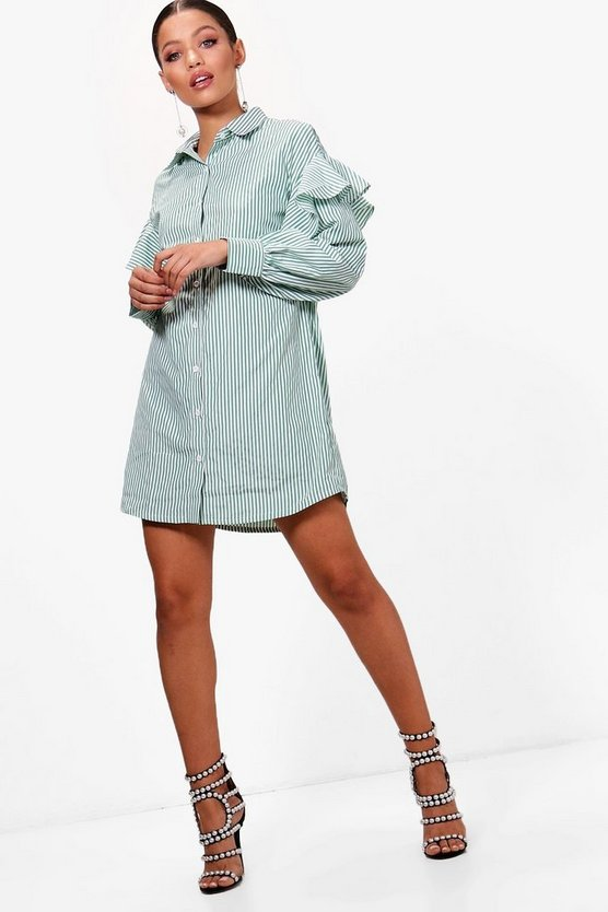 Ruffle Shoulder Pinstripe Shirt Dress