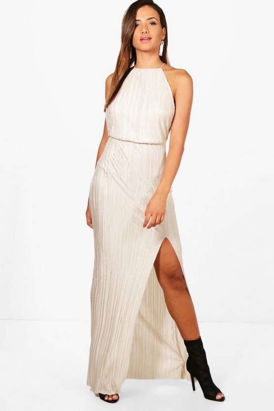 Rachel Pletaed Thigh Split Maxi Dress