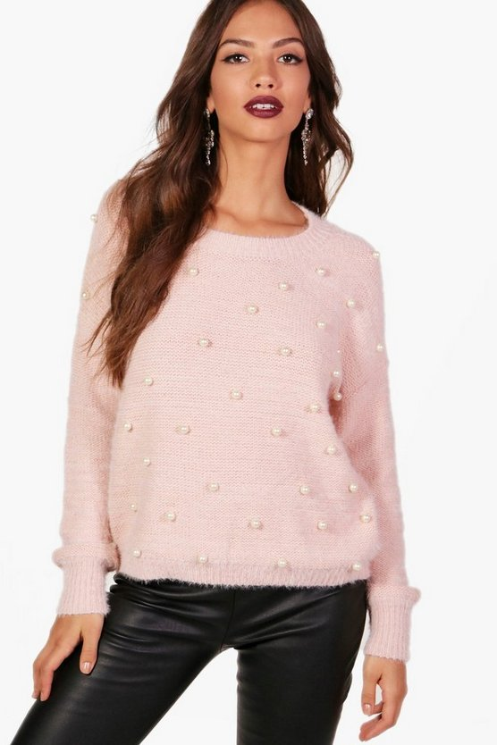 Mia All Over Pearl Embellished Jumper
