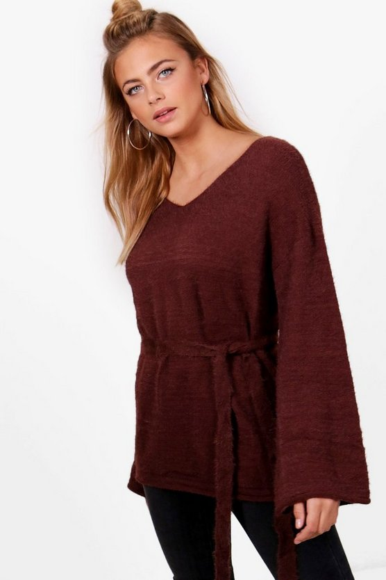 Fluffy Knit Flare Sleeve Tie Waist Jumper