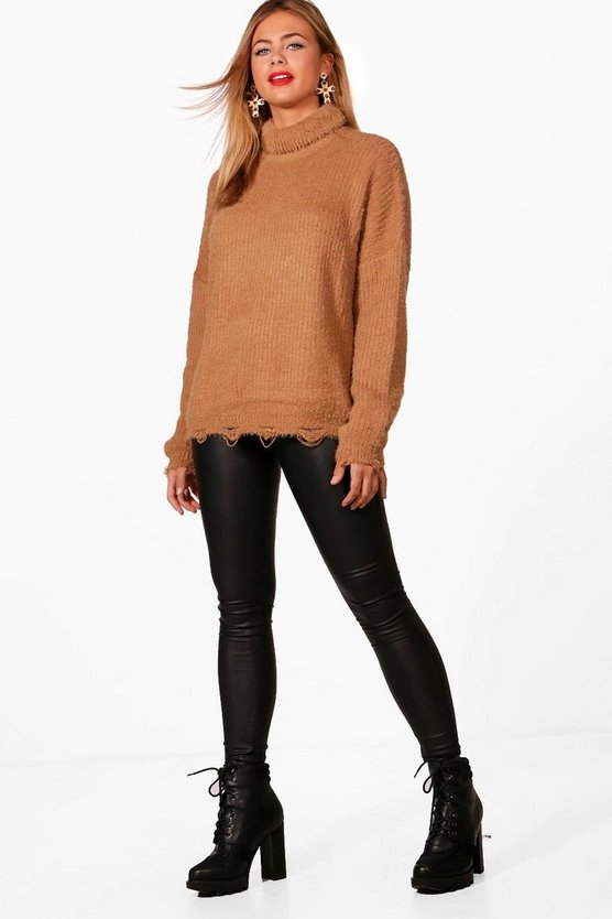 Cassie Fluffy Knit Roll Neck Oversized Jumper