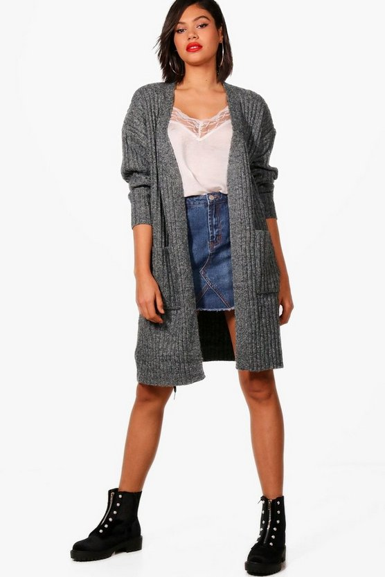 Isobel Chunky Rib Fluffy Knit Long Cardigan