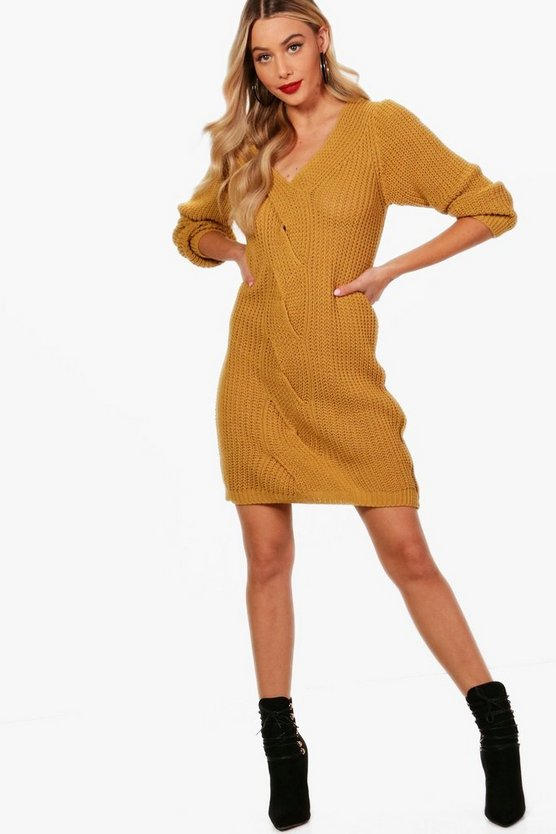 Eliza Cable Front Chunky Jumper Dress