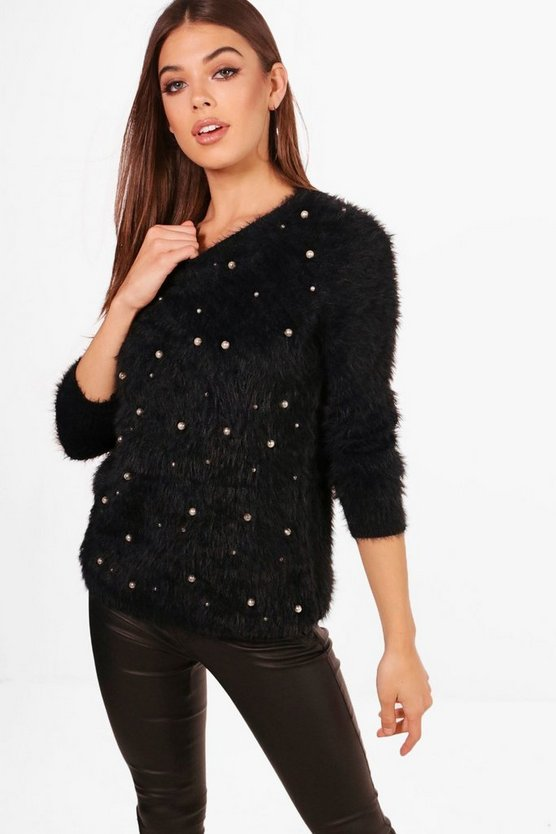 Yasmin Fluffy Knit Pearl Detail Jumper