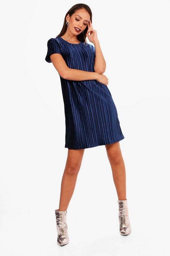 Pleated Velvet Shift Dress