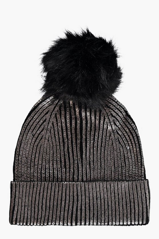 Ivy Metallic Faux Fur beanie