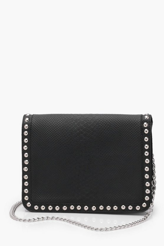 Snake And Stud Detail Cross Body