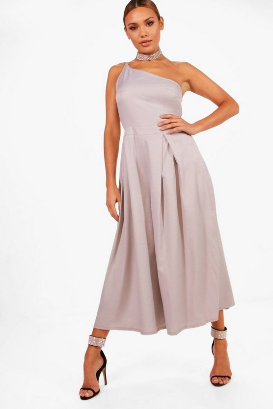 One Shoulder Pleated Culotte Jumpsuit