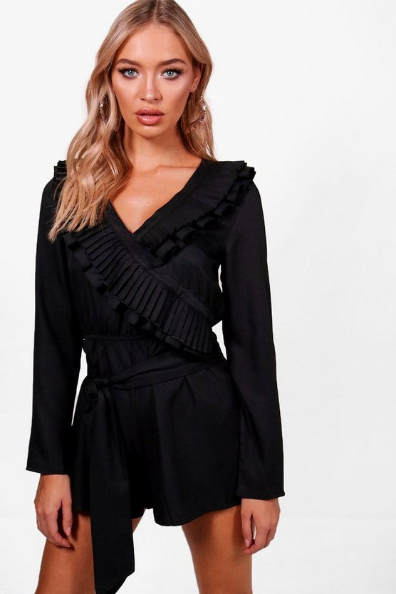 Ruffle Wrap Over 3/4 Sleeve Playsuit