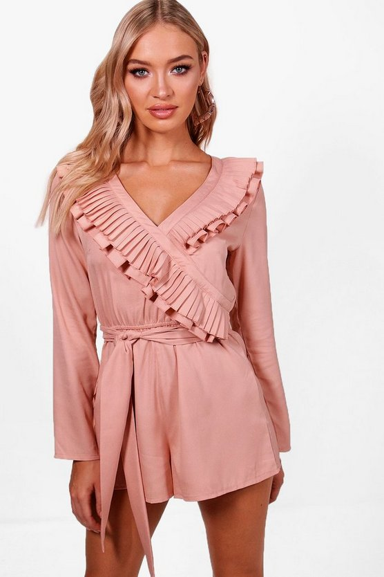 Joan Ruffle Wrap Over 3/4 Sleeve Playsuit