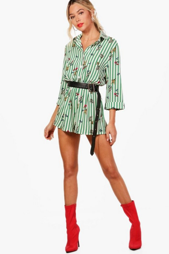 Brooke Stripe & Floral Twist Front Playsuit