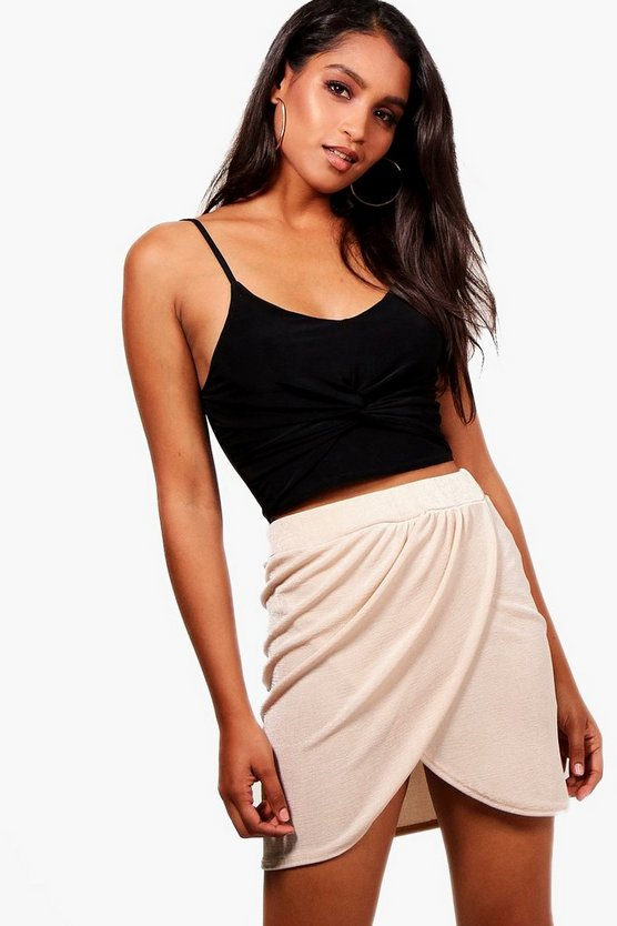 Drape Wrap Textured Slinky Mini Skirt