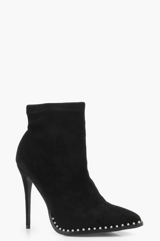 Pin Stud Detail Pointed Toe Shoe Boots
