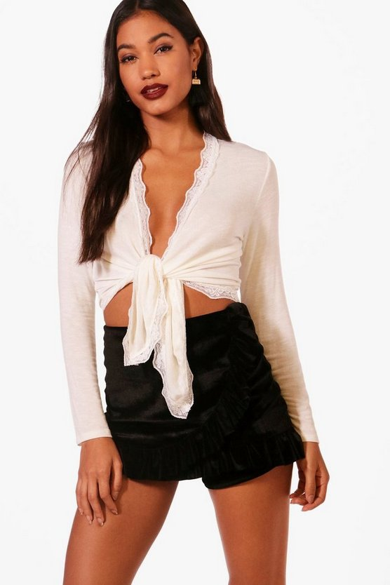 Molly Tie Front Lace Trim Long Sleeved Top