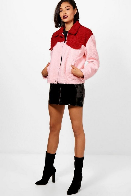 Becky Cropped Sherpa Trucker Jacket