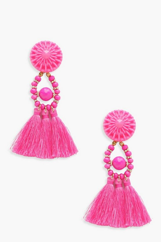 Megan Floral Tassel Bead Statement Earrings
