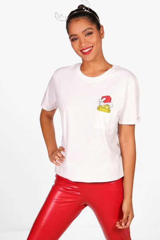 Gia Grinch Xmas Pocket Licensed Tee