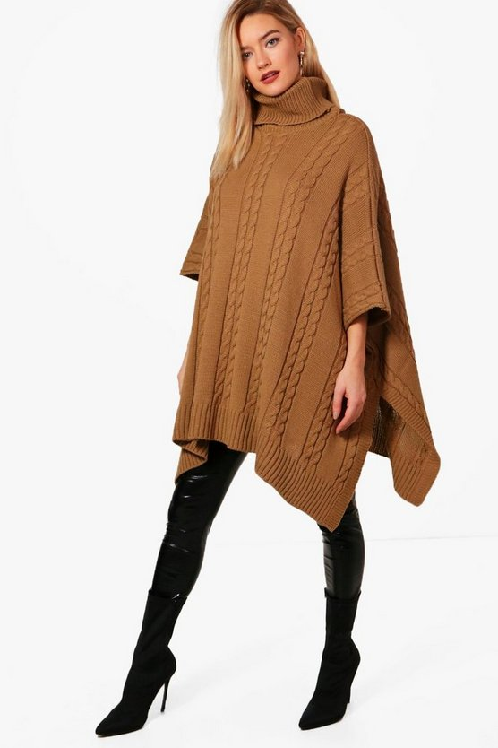 Lucinda Chunky Cable Knitted Poncho