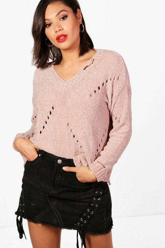 Fran Pullover in Chenille- und Used-Optik